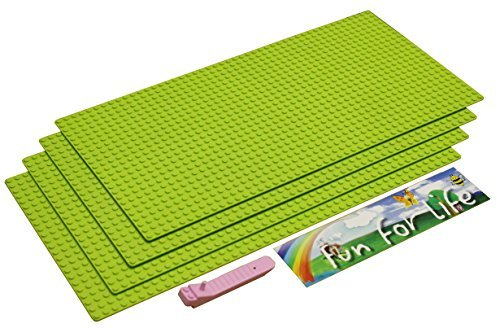 Tyco Life (Lego-Compatible Brick Building Base 15'' x 7.5'' (4 Pack) Apple Green Baseplate with a Brick Separator- by Fun For Life)