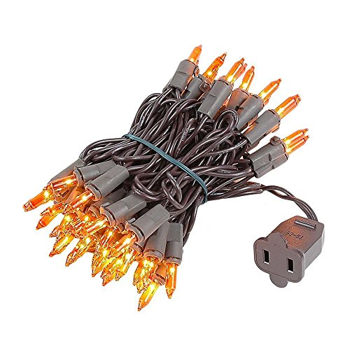 Novelty Lights 50 Light Amber Christmas Mini Light Set, Brown Wire, 11' Long (Tree Amber)