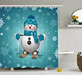 Snowman Shower Curtain Ambesonne Snowman Shower Curtain by, Skiing with Ornate Snowflakes Winter Vacation Activity Fun Hobby, Fabric Bathroom Decor Set with Hooks, 70 Inches, Turquoise White Pale Brown