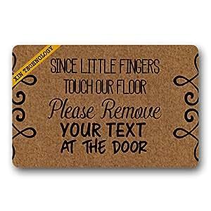 """Felpudo personalizado tu texto Felpudo (desde la Little dedos Touch nuestro piso Doormats monograma antideslizante Felpudo non-woven fabric felpudo interior decoración de entrada alfombra Felpudo 23.6""""x 15.7"""""""
