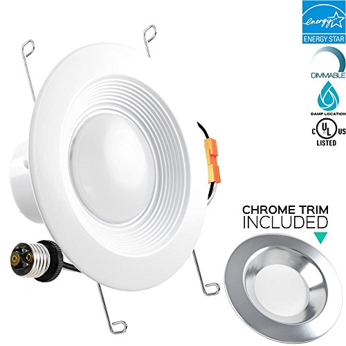 Luxrite 5/6 Inch Dimmable LED Downlight, 15W (120W Equivalent), 4000K Cool White, Chrome Trim Included, 1200LM, Recessed Can Light Fixture, Energy Star, Dimmable, E26 Adapter Base, 1-Piece