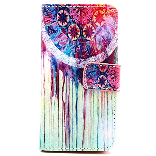 iPhone 5S Case, iPhone 5 Case, Speedtek Dreamcatcher Pattern Premium PU Leather Wallet Flip Protective Skin Case with Magnetic Closure for Apple iPhone 5 5G (2012) & iPhone 5S (2013) (Built-in Credit Card/ID Card Slot)