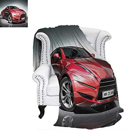 """Lightweight Blanket Modern Era Sports Car Designed for Spirited Performance and Fast Speed Racing Print Digital Printing Blanket 90""""x70"""" Silver Red"""
