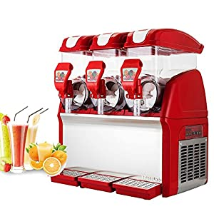 OrangeA Slush Slushy Making Machine 15L X 3 Tanks Red Frozen Drink Slush Machine Commercial Smoothie Maker with Spigot (Red Color 15L X 3 Tank)