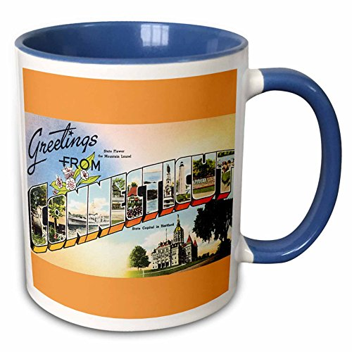3dRose 180231_6 Greetings From Connecticut Scenic Postcard With State Flower Two Tone Mug 11 oz ()