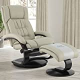 Mac Motion Oslo Collection Narvick Recliner Ottoman in Beige Breathable Air Leather