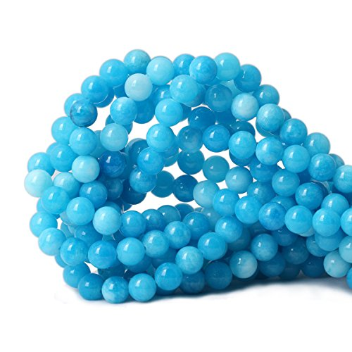 Qiwan 45PCS 8mm Dreamy Blue Dyed Round Stone Loose Beads for Jewelry Making DIY Bracelet Necklace 1 Strand 15""
