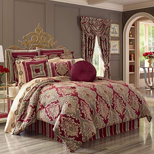 J. Queen New York Crimson Velvet-Piped Damask Cal California Comforter Set