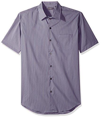 Van Heusen Men's Flex Stretch Short Sleeve Non Iron Shirt, Mini Check Dusty Lilac, Medium by Van Heusen