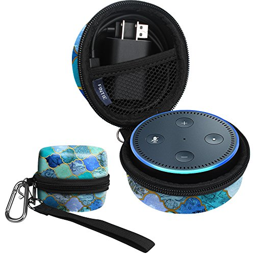Jade Dots (Fintie Carrying Case for Amazon Echo Dot 2nd Generation - Shock Proof EVA Cover Zipper Portable Travel Bag Box (Fits USB Cable and Wall Charger), Cool Jade (Official Micklyn Le Feuvre product.))