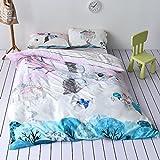 LELVA Bird Print Pattern Duvet Cover Set Teen Cartoon Kids Bedding for Boys and Girls 3pcs 100%Cotton (Twin, Flat Sheet Set)
