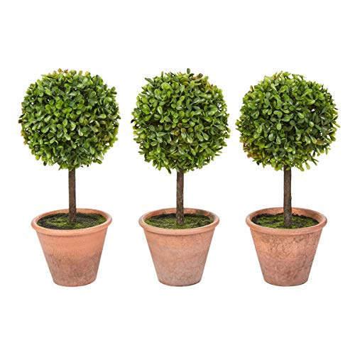 Home Pure Garden Faux Boxwood- 3 Matching Realistic 11.5