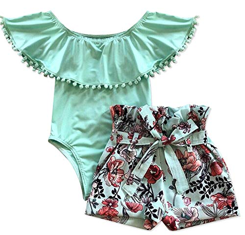 Newborn Baby Girls Clothes Floral Sleeve Romper+ Floral Short Pant 2pcs Summer Outfit 12-18 Months Green