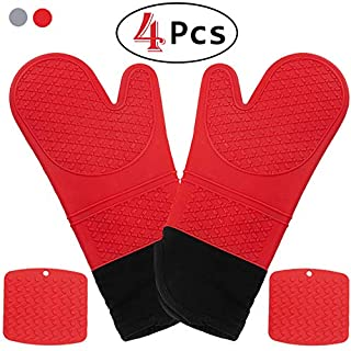 HmiL-U Silicone Oven Mitts | Pot Holders-1 Pair of Extra Long Heat Resistant up to 500 F Cooking Gloves with 2 PotHolders for Kitchen, Cooking, Baking,BBQ (Red)