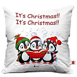 Indigifts Singing Penguins Print White Cushion Cover 12×12 with Filler (Xmas, Him, Boy, Girl, Dad, Mom, Friends, Family) – Christmas Decorations