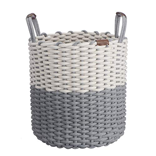 Large Durable Cotton Rope Basket with Vegan Sewn Leather Han