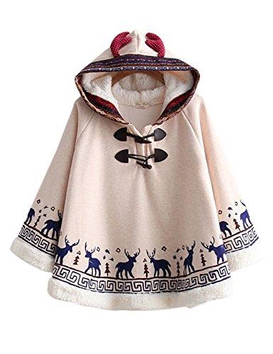 Gihuo Women's Cute Cloak Cape Hooded Fleece Lined Sweater Hoodie (Beige#2, One - Fleece Cotton Poncho