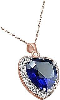 802e54ff4b49 Titanic corazón del océano simulado Azul Zafiro Y Blanco CZ colgante collar  de 925 plata de