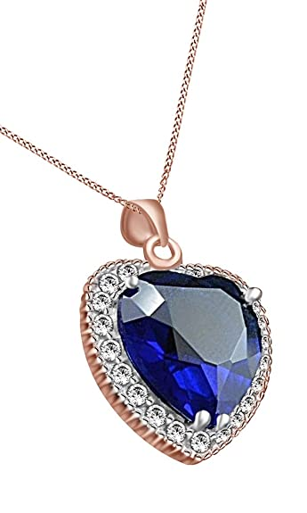 15b304282f9316 Amazon.com: Jewel Zone US Titanic Heart of The Ocean Blue Sapphire & Cubic  Zirconia Pendant Necklace 14k Rose Gold Over Sterling Silver: Jewelry
