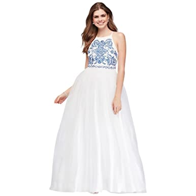 Davids Bridal Embroidered Tulle Prom Dress with Strappy Back Style X36751TA45, White, ...