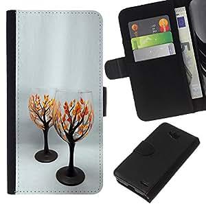 EJOY---La carpeta del tirón la caja de cuero de alta calidad de la PU Caso protector / LG OPTIMUS L90 / --amor árbol