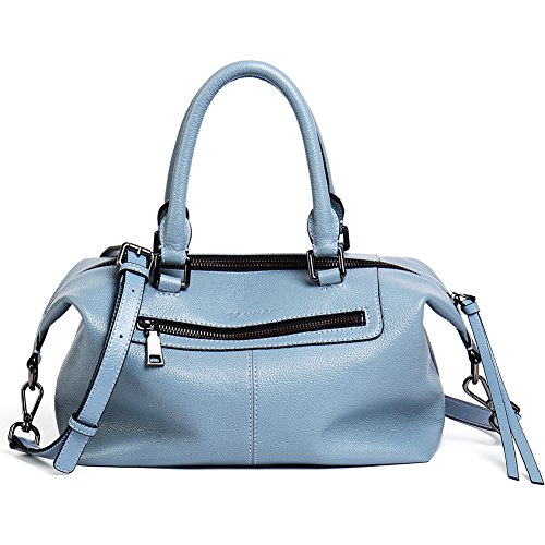 NAWO Leather Designer Handbags Shoulder Tote Top-handle Bag Clutch Purse for Women (Blue Leather Handbags)