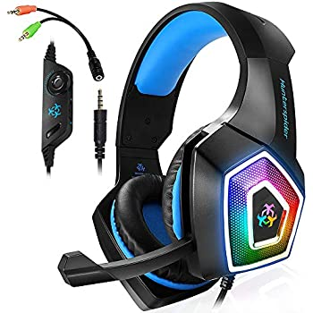 79542cdf8ad Xbox One Gaming Headset for PS4,PC,LED Light On Ear Headphone with Mic for  Mac,Laptop,Nintendo Switch Games (Blue)