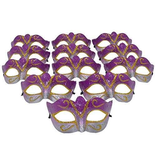 Yiseng Masquerade Mask Party Favors Mardi Gras Venetian Mask Halloween Novelty Gifts Pack of 12 (Fuschia) ()