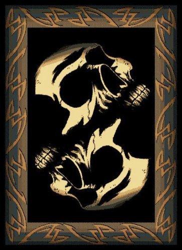 United Weavers Legends Area Rug 910-07260 Phantom, Black Skulls Skeleton