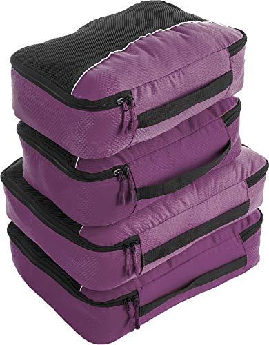 Bago 4 Set Packing Cubes for Travel - Luggage & Suitcase Organizer - Cube Set (2Large+2Medium, Purple)