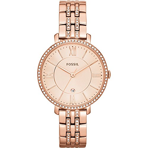 Fossil White Gold Bracelets (Fossil Women's ES3546 Jacqueline Rose Gold-Tone Stainless Steel Watch)