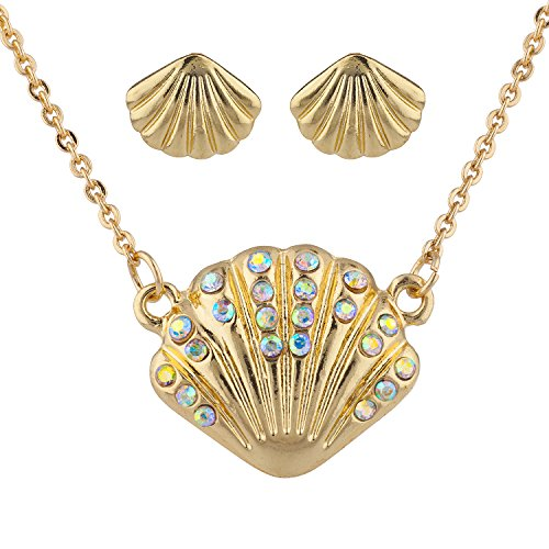 (Lux Accessories Goldtone AB Stone Seashell Pendant Necklace and Earrings Set 2PC)