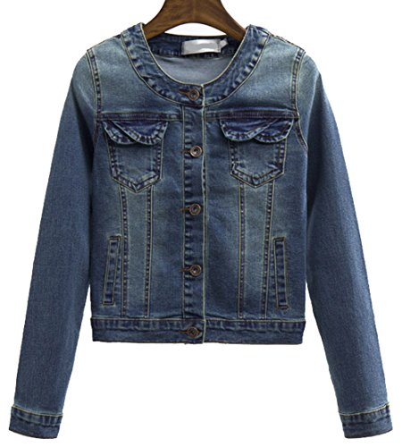 Denim Jackets Trendy XU Long Sleeve Collarless Short Cropped Elastic Jeans Coat (L) (Collarless Cropped Jacket)