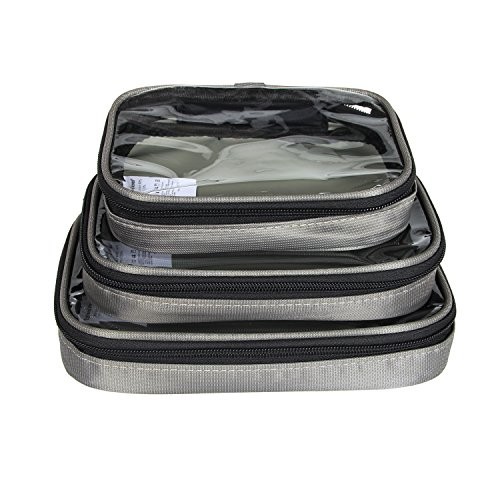 Damero Clear 3pcs/set Travel Carry Case / Electronic Accessories Organizer / Packing Cubes (Dark Green)