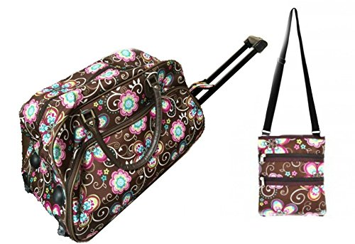 brown-pink-daisy-21-rolling-duffel-bag-set-1-carry-on-bag-1-over-shoulder-swing-bag