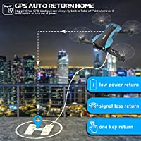 GPS Drone RC Quadcopter with 1080P Camera 5G WiFi FPV Live Video Auto-Return Home Follow Me Altitude Hold Orbit Mode Long Flight Time for Adults Kids Beginners (Blue)