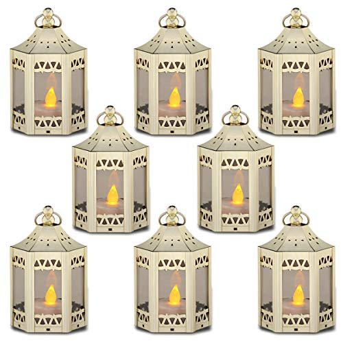 zkee Mini Star Lantern with Flickering LED,Battery Included (Set of 8,Golden)