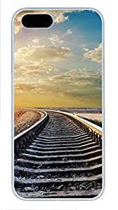 iPhone 5 5S Case Train tracks and clouds PC Custom iPhone 5 5S Case Cover White