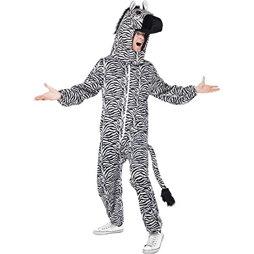 Smiffy's Adult Unisex Zebra Costume, All in One and Hood, Party Animals, Serious Fun, One Size, 43816
