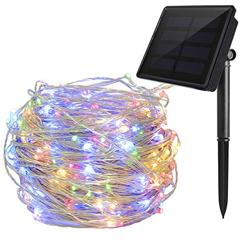 Solar String Lights Multi Color, Ankway 200 LED Fairy Lights 3-Strand Copper Wire Light 8 Modes 72 ft Solar String Lights Waterproof Twinkle Lights for Garden Patio Indoor Outdoor(Multi Color) -