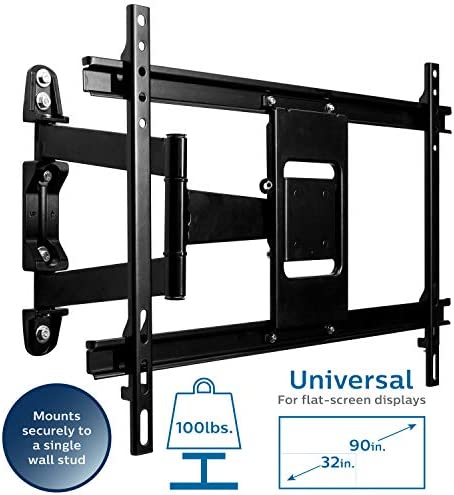 Philips Full Motion TV Wall Mount, Fits Most Up to 90 with VESA 600×400, LED LCD Flat Heavy Duty Monitor Holds up to 100 Lb with Swivel 17.5 Extension Arm, SQM9647 27