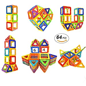 Magnetic Blocks STEM Educational Toys Magnet Building Block Tiles Set for Boys and Girls by Coodoo-64pcs
