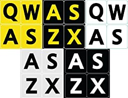 5 FIVE ENGLISH US LARGE PRINT BOLD LETTERS KEYBOARD STICKERS 5 COLORS IN ONE ORDER