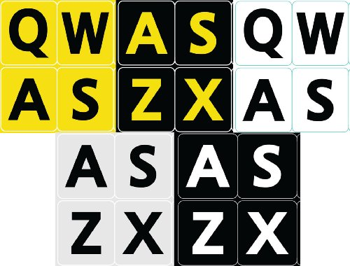 5 FIVE ENGLISH US LARGE PRINT BOLD LETTERS KEYBOARD STICKERS