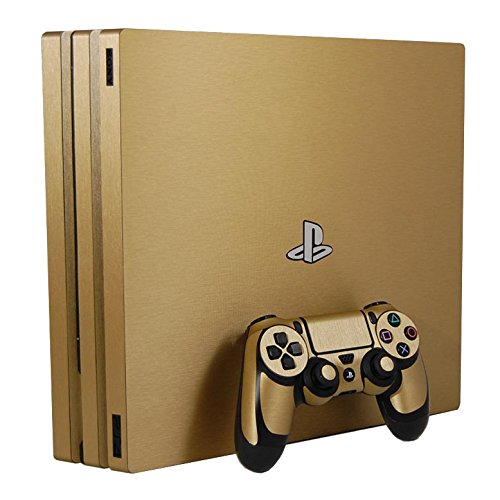 Sony PlayStation 4 Pro Skin (PS4-Pro) - NEW - BRUSHED GOLD METAL - Air Release vinyl decal console mod kit by System Skins by System Skins