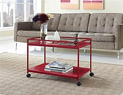 Amazon.com   Marshall 2 Shelf Rolling Coffee Table Cart, Red Finish   Bar U0026  Serving Carts