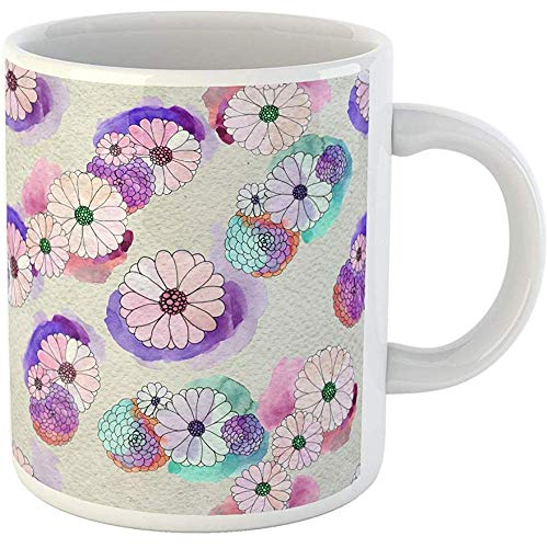 Personalized 11 Ounces Funny Coffee Mug Watercolor Artistic Floral Pattern Asters and Daisy Flowers Beauty Ceramic Coffee Mugs Tea Cup Souvenir ()