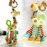Infant Baby Development Soft Giraffe Animal Handbells Rattles Handle Toys LO by New