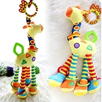 Infant Baby Development Soft Giraffe Animal Handbells Rattles Handle Toys LO ...