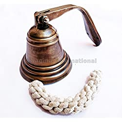 Nautical Antique Brass Ship Bell - Captain Maritime Beach Home Decor Gift - Nagina International (7 Inches)